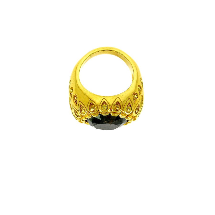 Black diamond and yellow sapphire ring