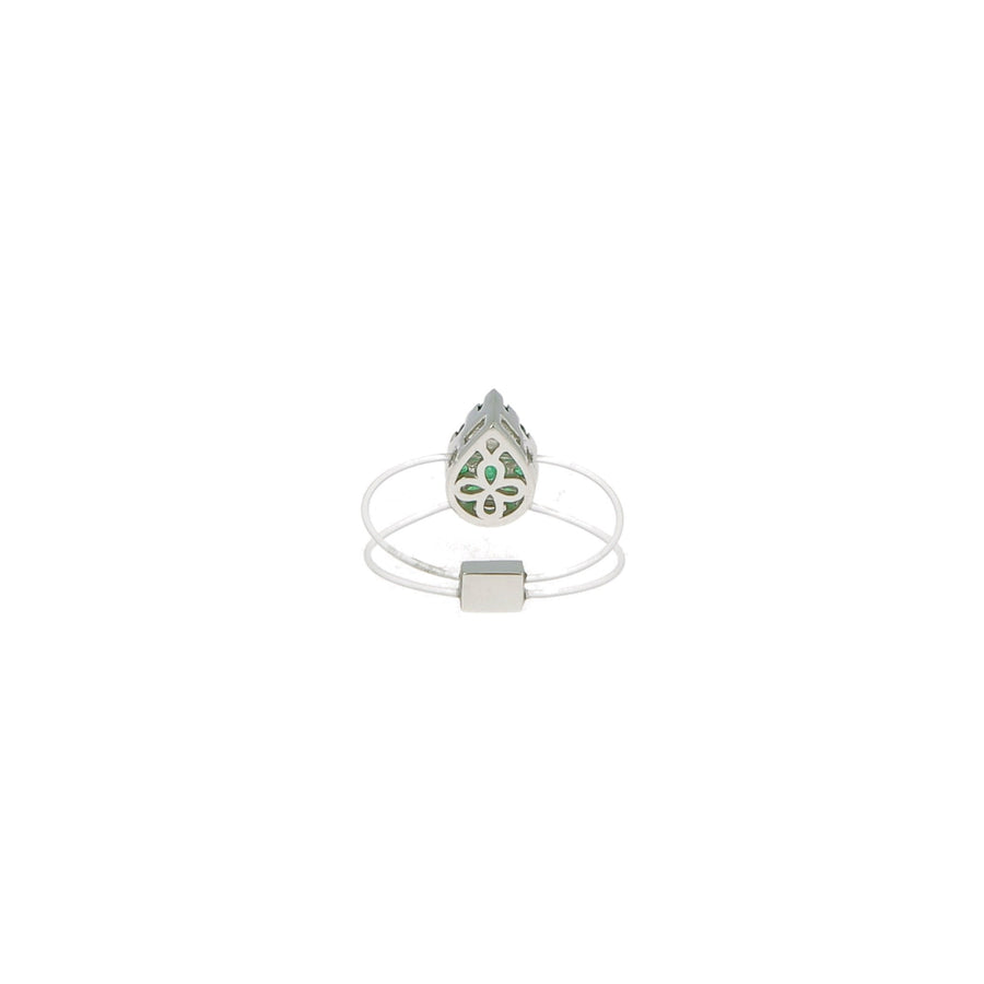Floating Pear Emerald Ring