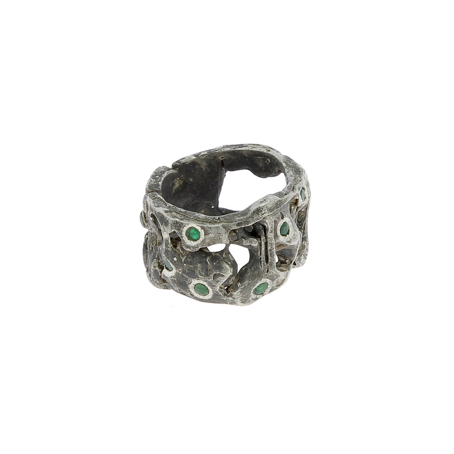 Wide melt emeralds ring