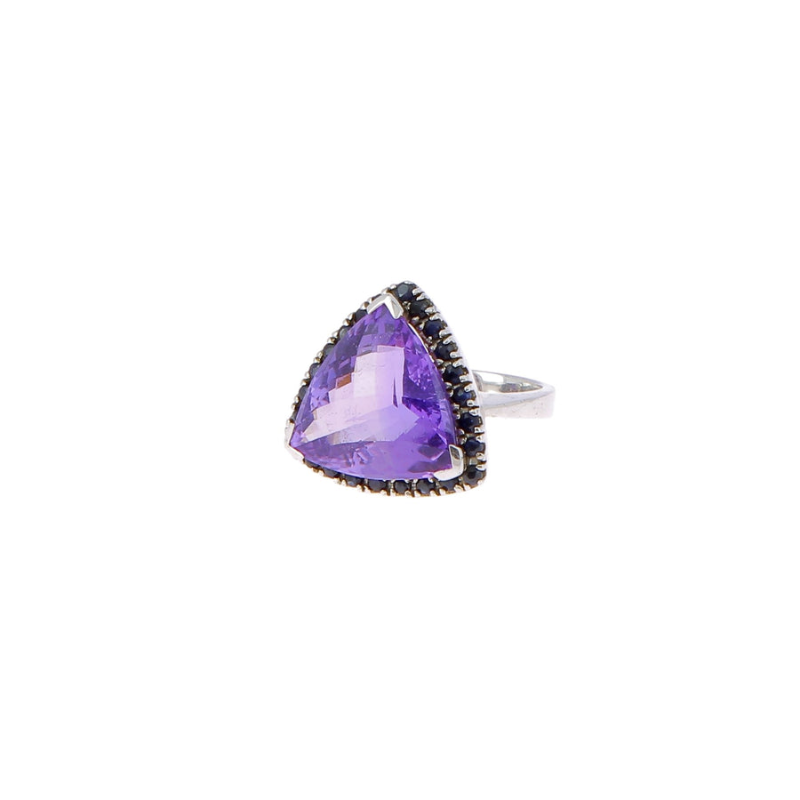 Ring amethyst trillion