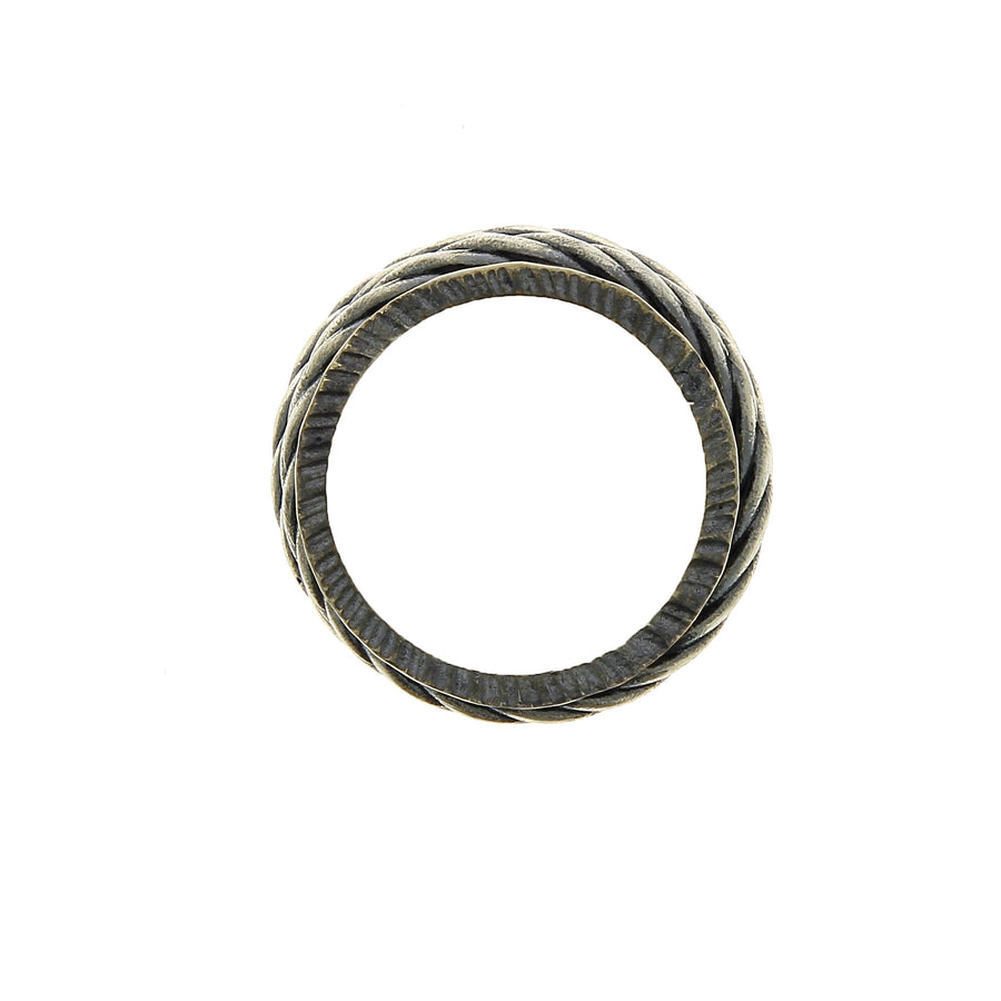 Ring movable twisted rows silver