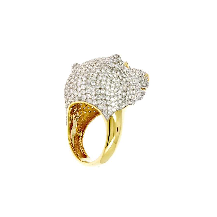 White bear ring with white and black diamonds