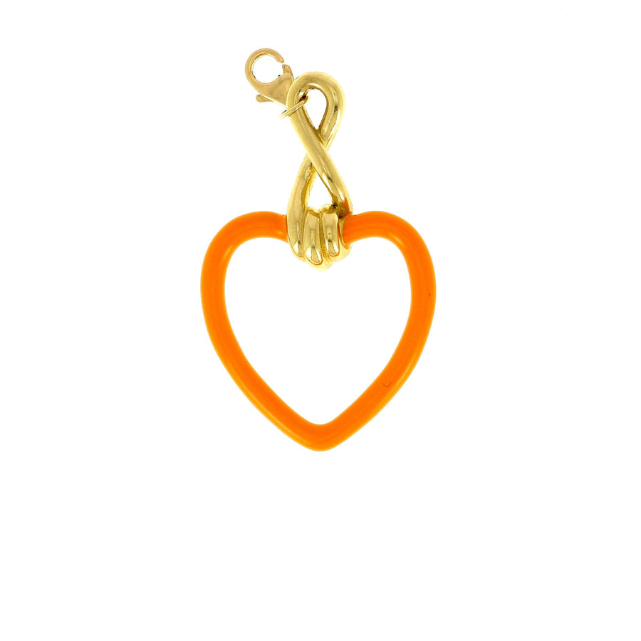 Bea bongiasca large heart charm orange enamel