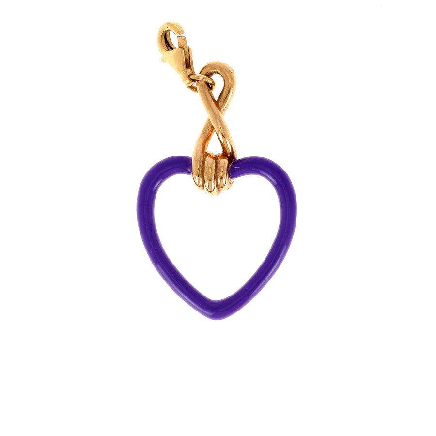 Bea bongiasca large heart charm purple enamel