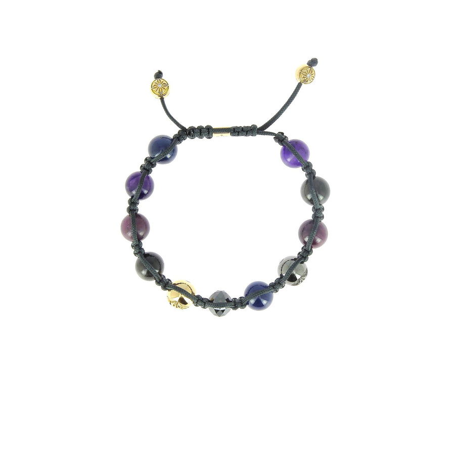 Blue and grey sapphire, ruby, amethyst bracelet