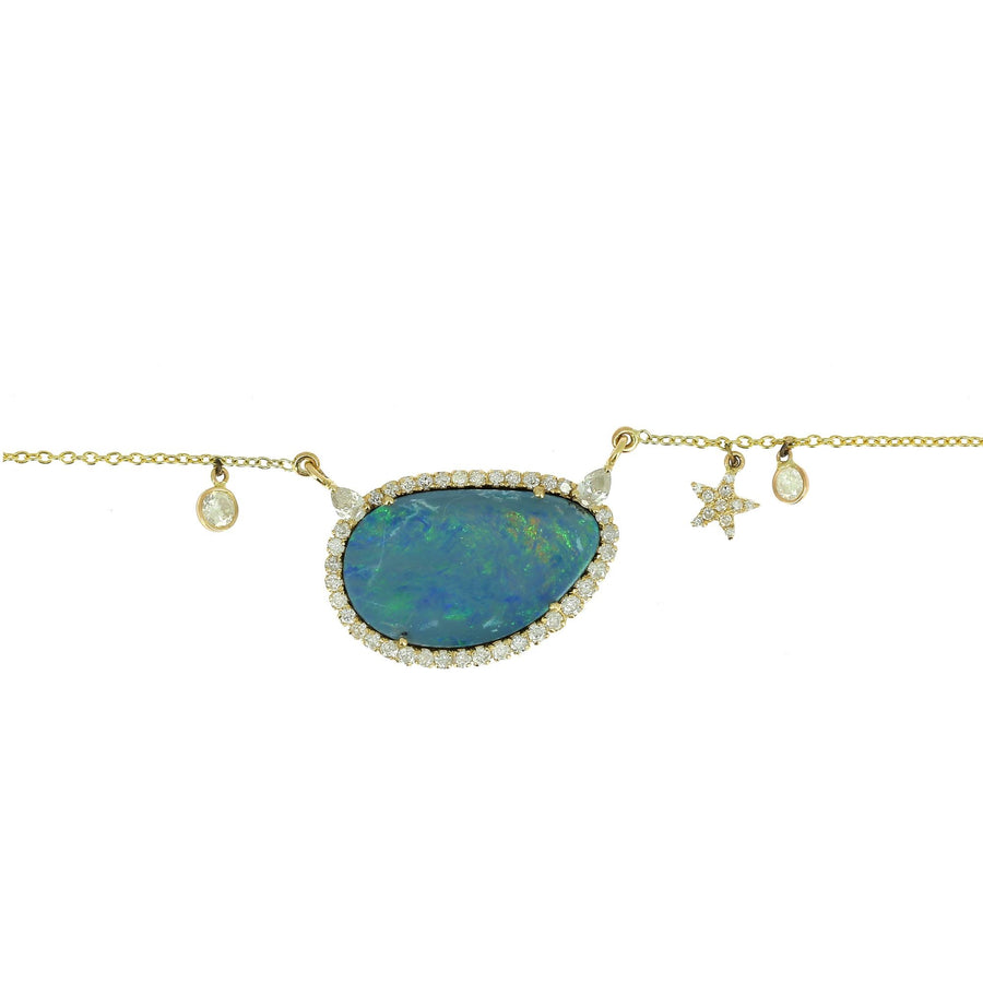 Blue Opal and Diamond Necklace