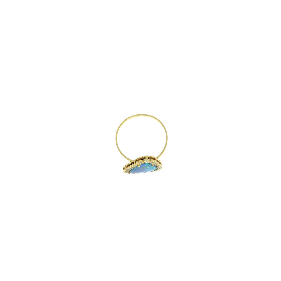Blue Opal and Diamond Ring Yellow Gold