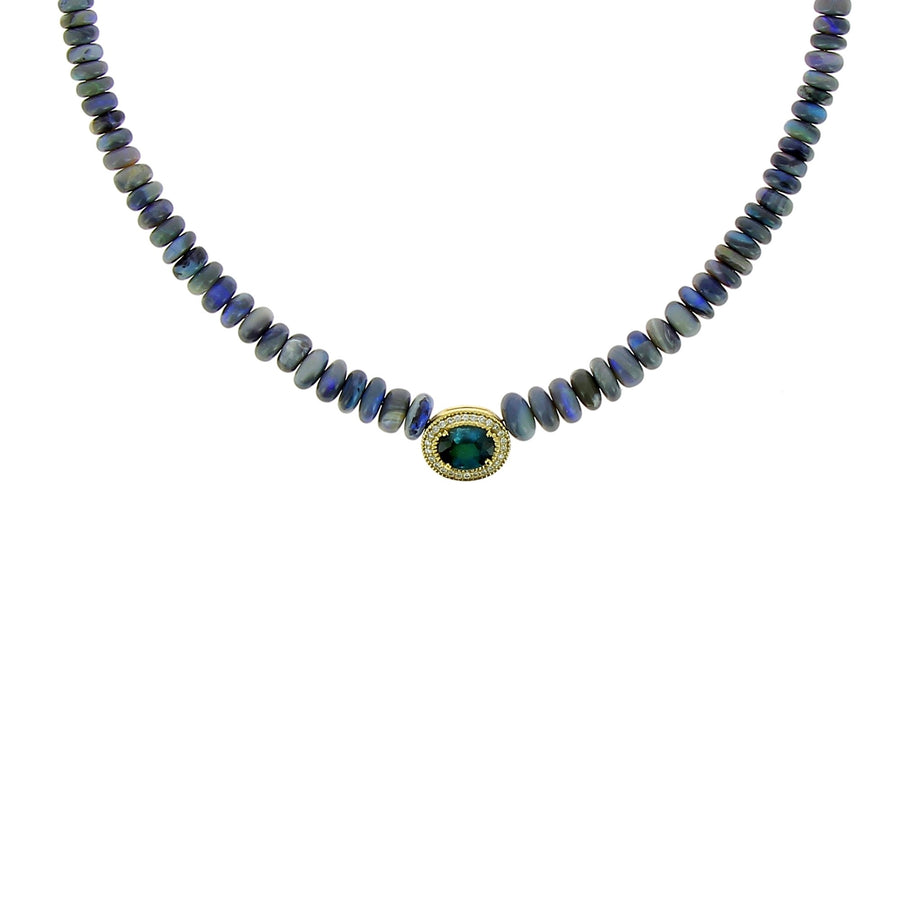 Blue tourmaline and blue opal necklace