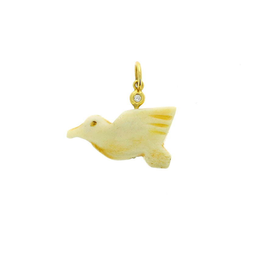 Bone bird charm yellow gold