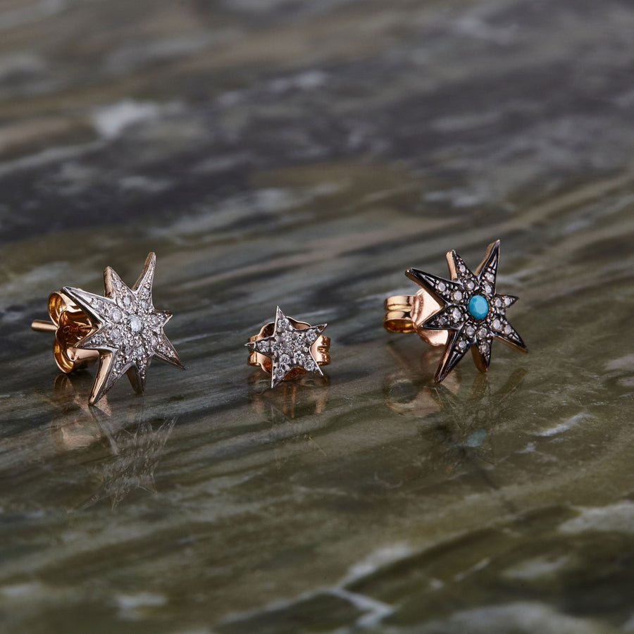 Compass Star Turquoise Stud Earring
