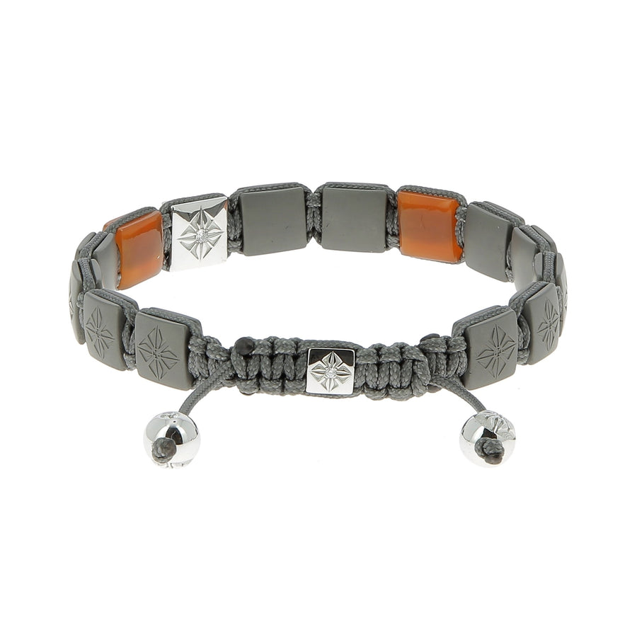 Lock orange stones & white diamonds bracelet