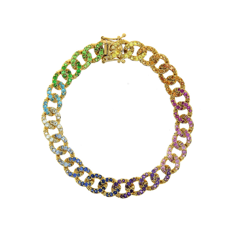 Multicolor Paved Bangle Yellow Gold