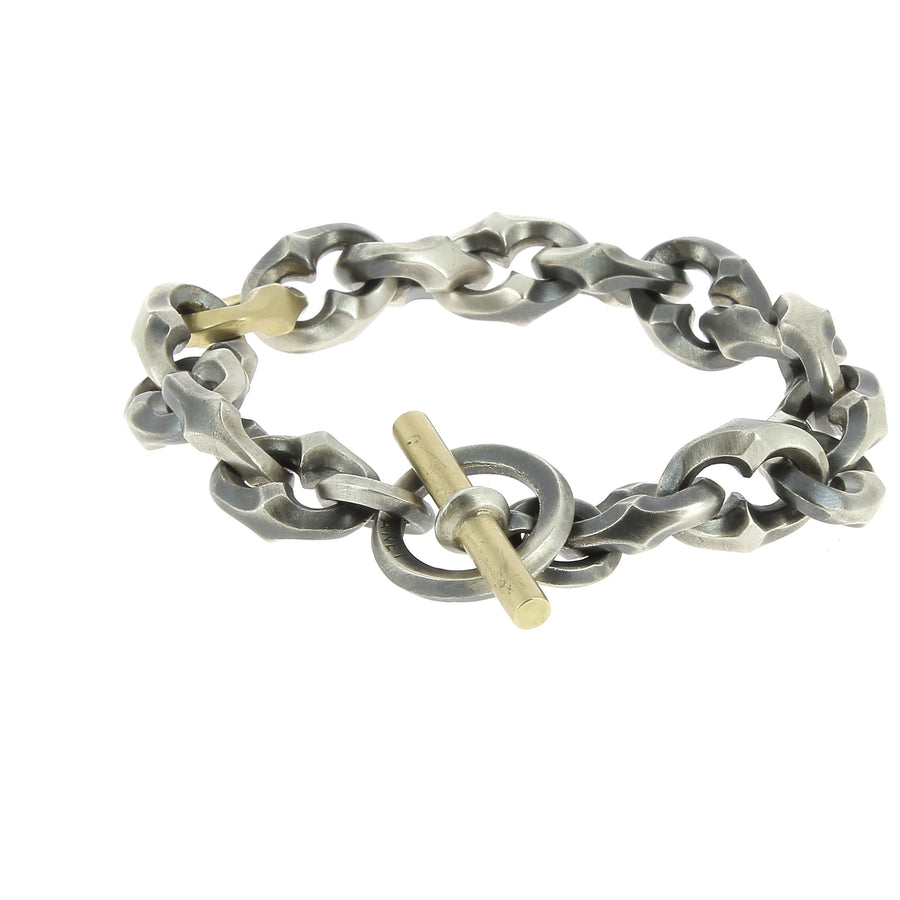 Bracelet maillons argent oxyde 1 maillon or jaune