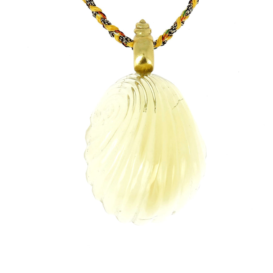 Carved Citrine Shell Necklace
