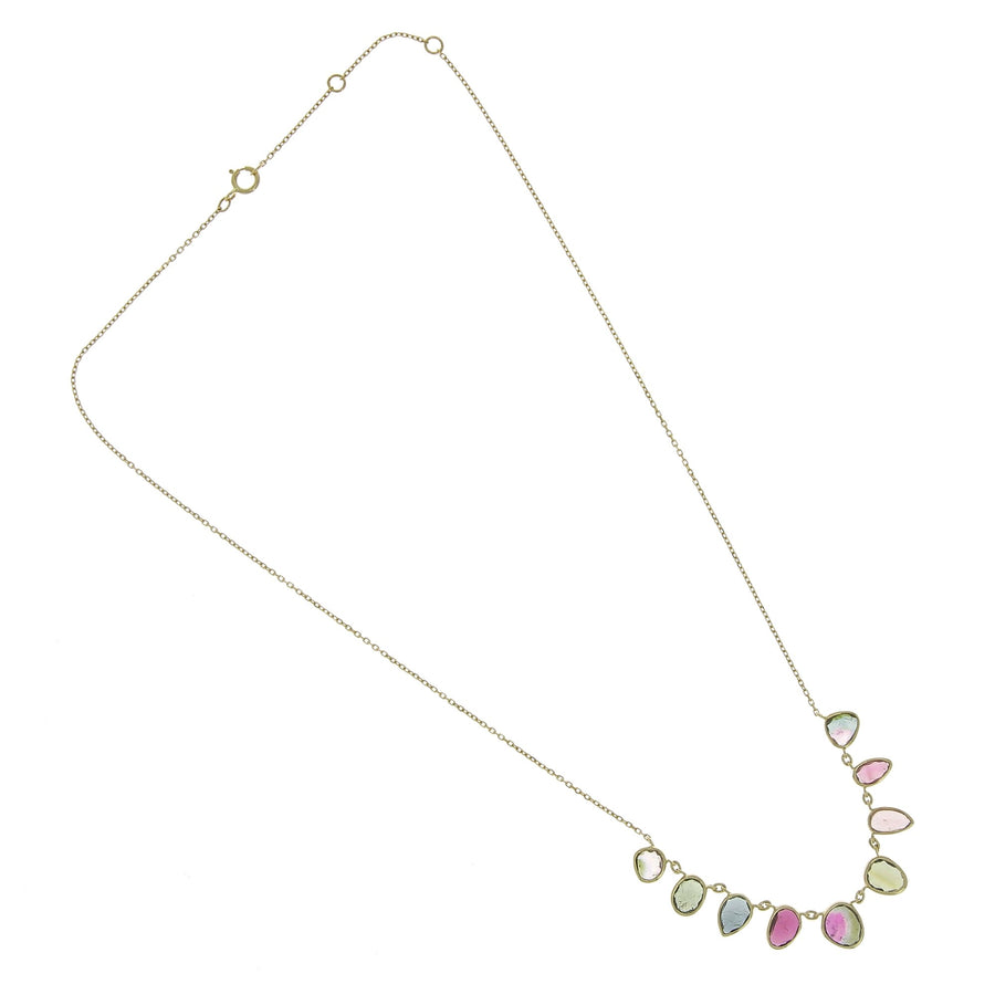 Chain Necklace Multi and Pink Tourmaline Bezel