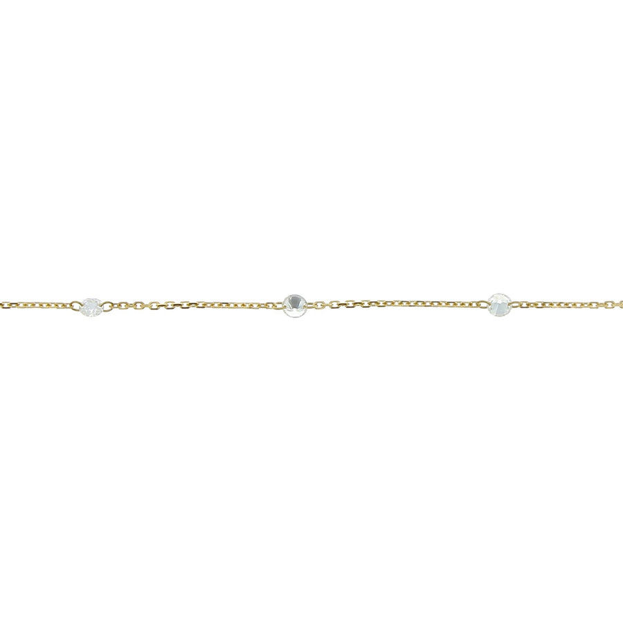 Necklace 9 diamonds encrusted 3mm yellow gold