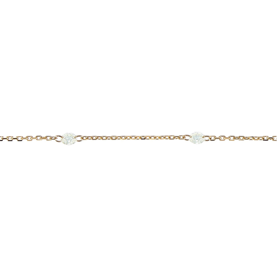 Necklace 9 diamond rose gold encrusted 3mm