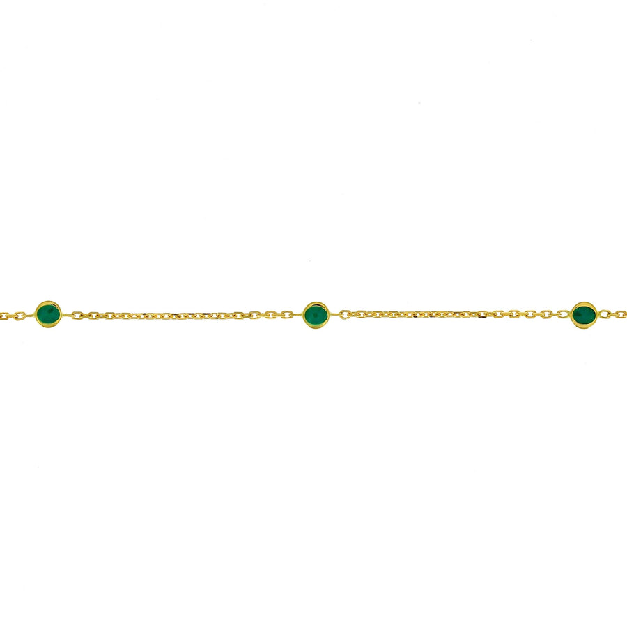 Emerald enamel targets necklace