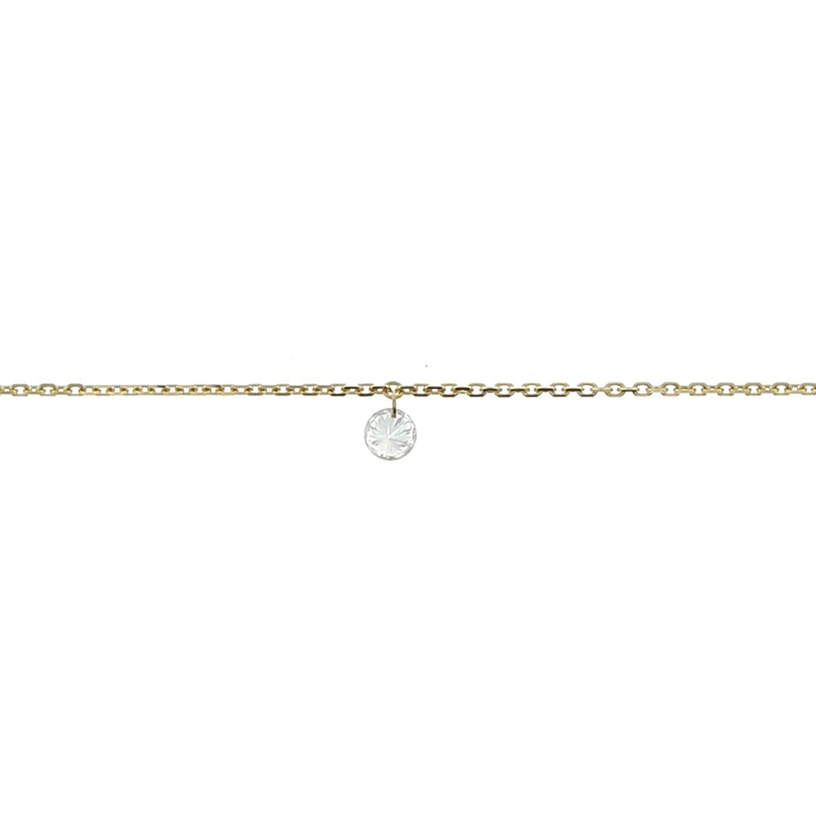 3.5mm yellow gold diamond necklace