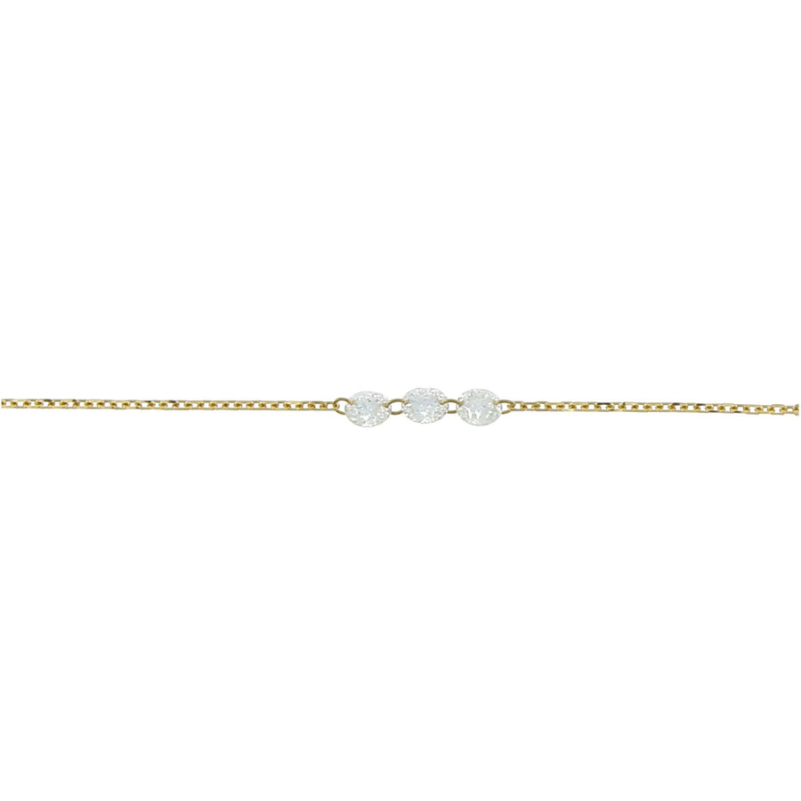 Diamond necklace inlaid 3.5mm yellow gold