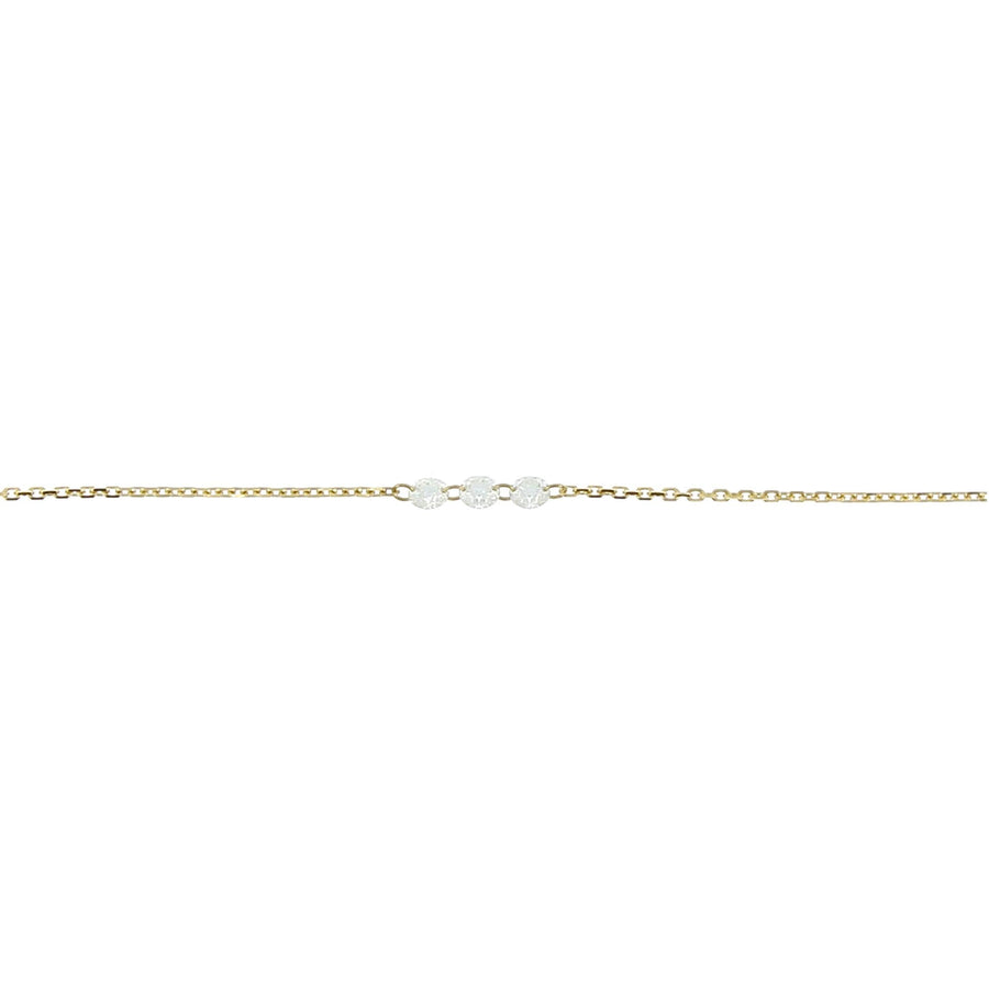 Diamond necklace inlaid yellow gold 3mm