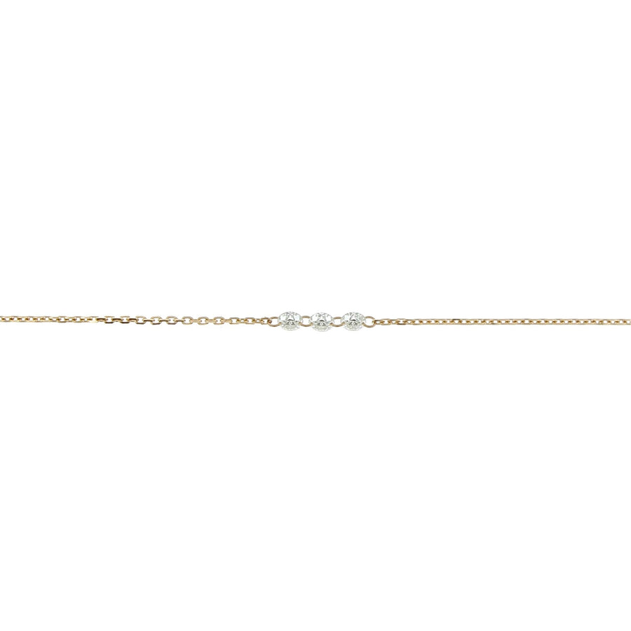 Diamond necklace inlaid rose gold 3mm