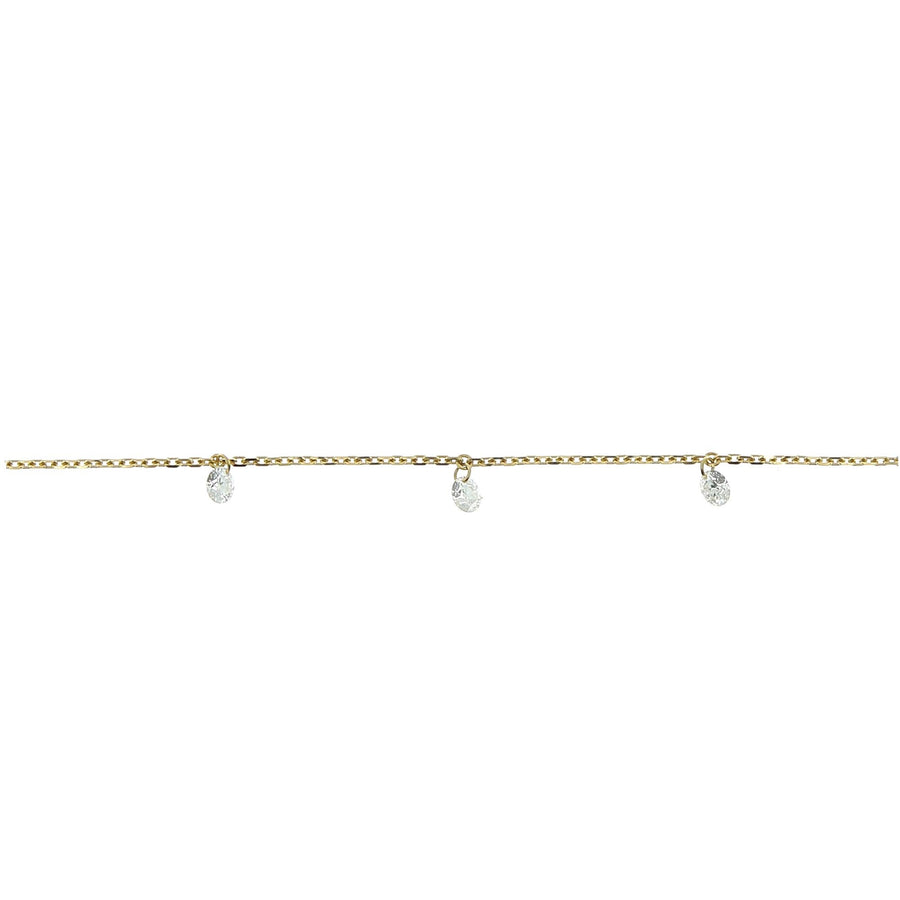 3mm yellow gold necklace pendant diamonds