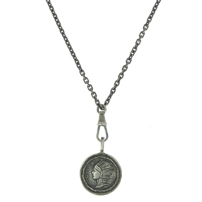 Indian Head Silver Pendant Necklace