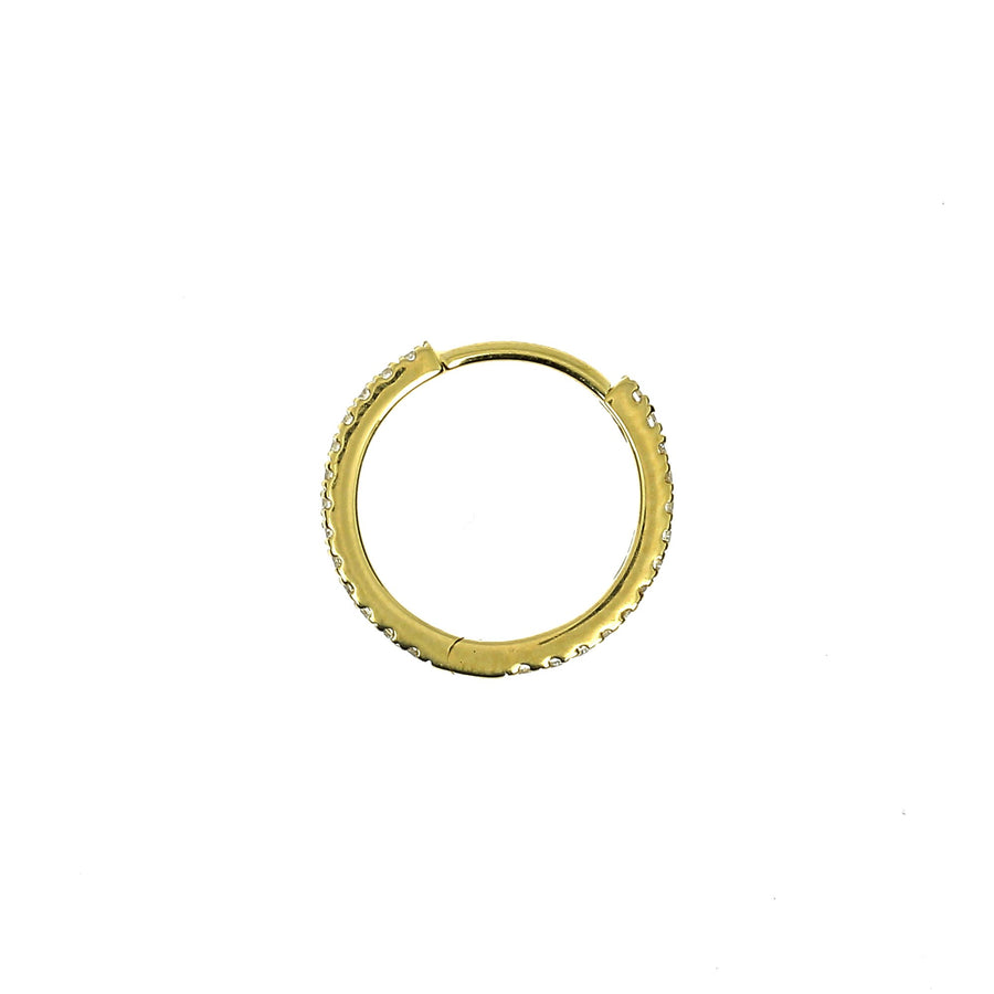 11mm Full Paved Hoop Yellow Gold