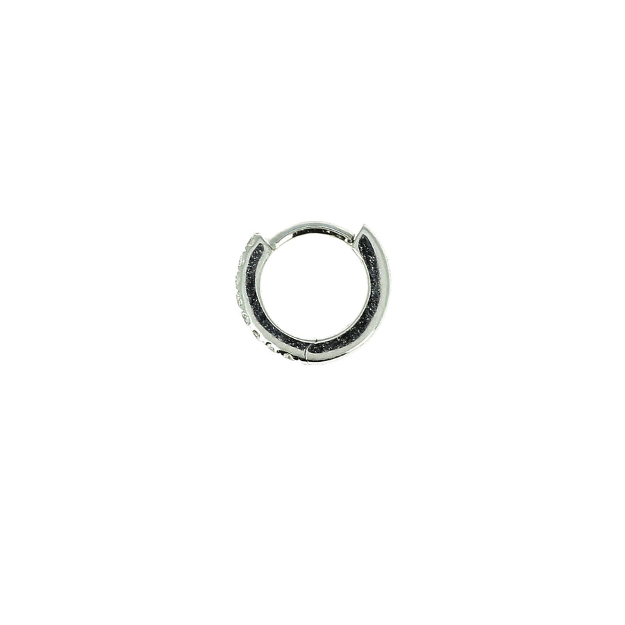 6.5mm Half Paved Hoop White Gold