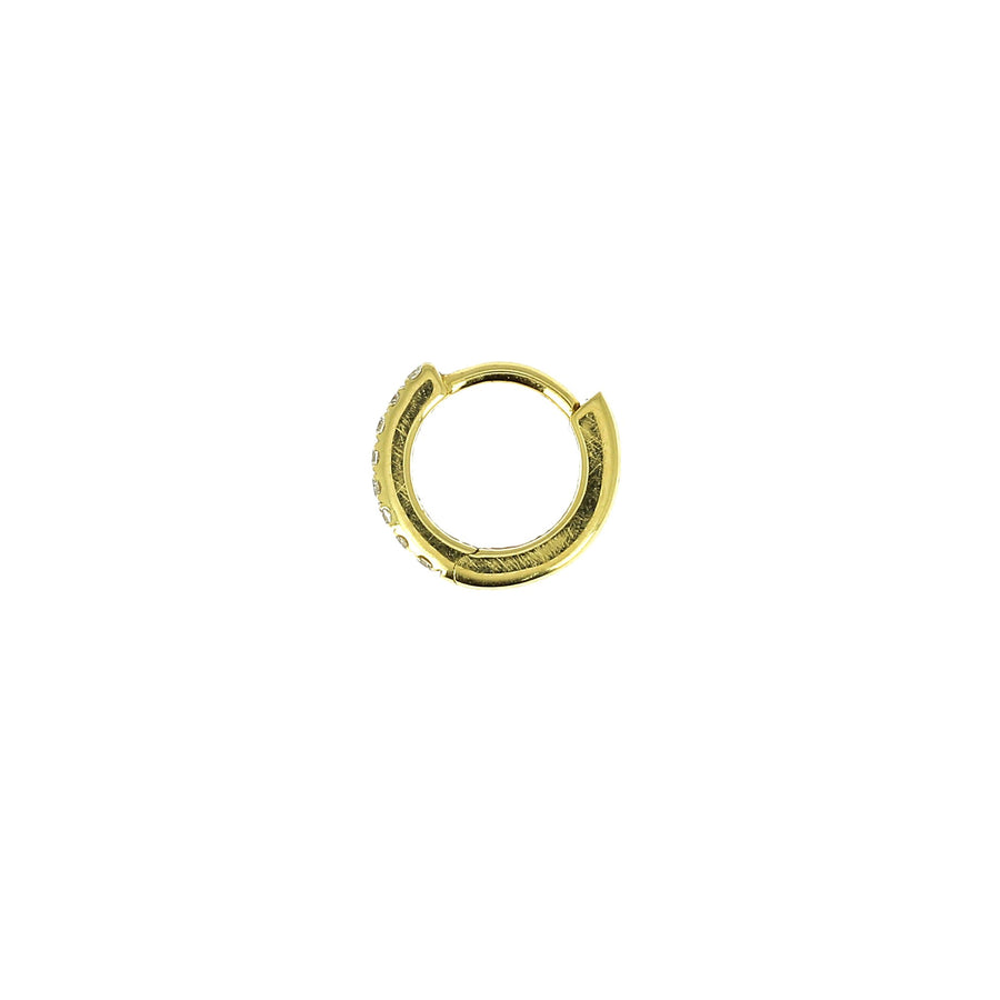 6.5mm Half Paved Hoop Yellow Gold