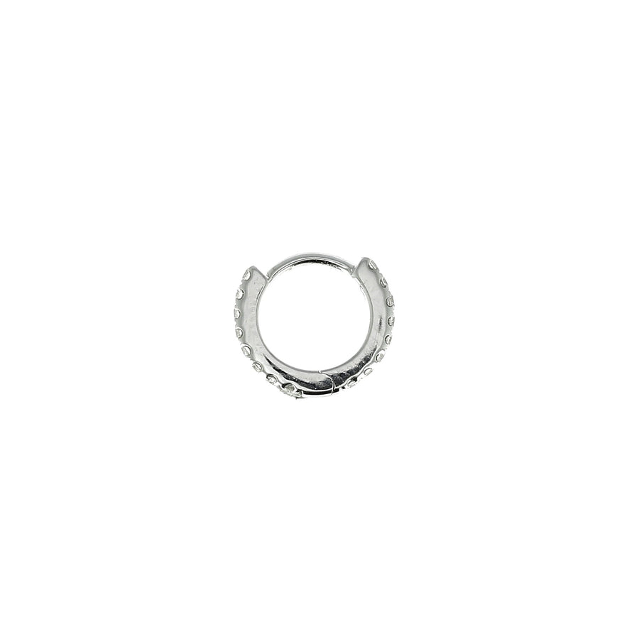 6.5mm Full Paved Hoop White Gold
