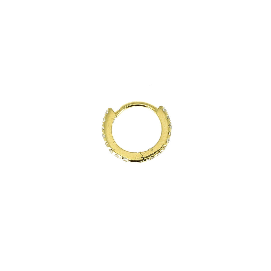 6.5mm Full Paved Hoop Yellow Gold