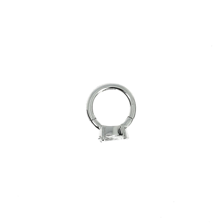 6.5mm White Gold Hoop Pear 4.5x3mm