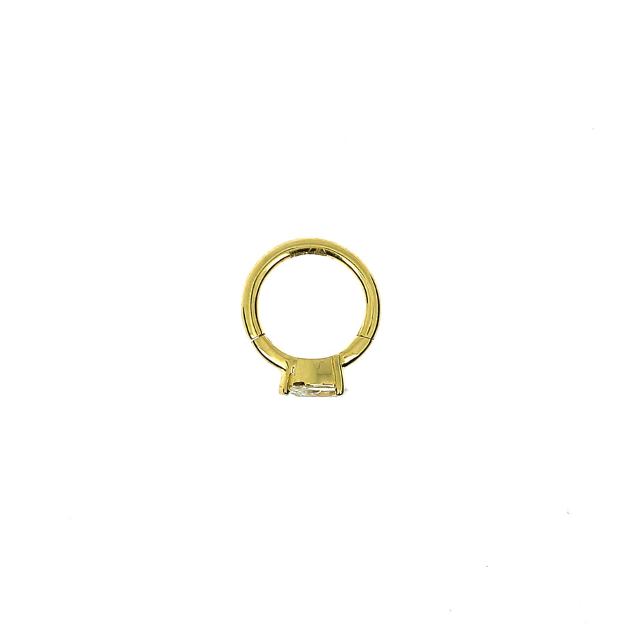 6.5mm Yellow Gold Hoop Pear 3.5x2.5mm