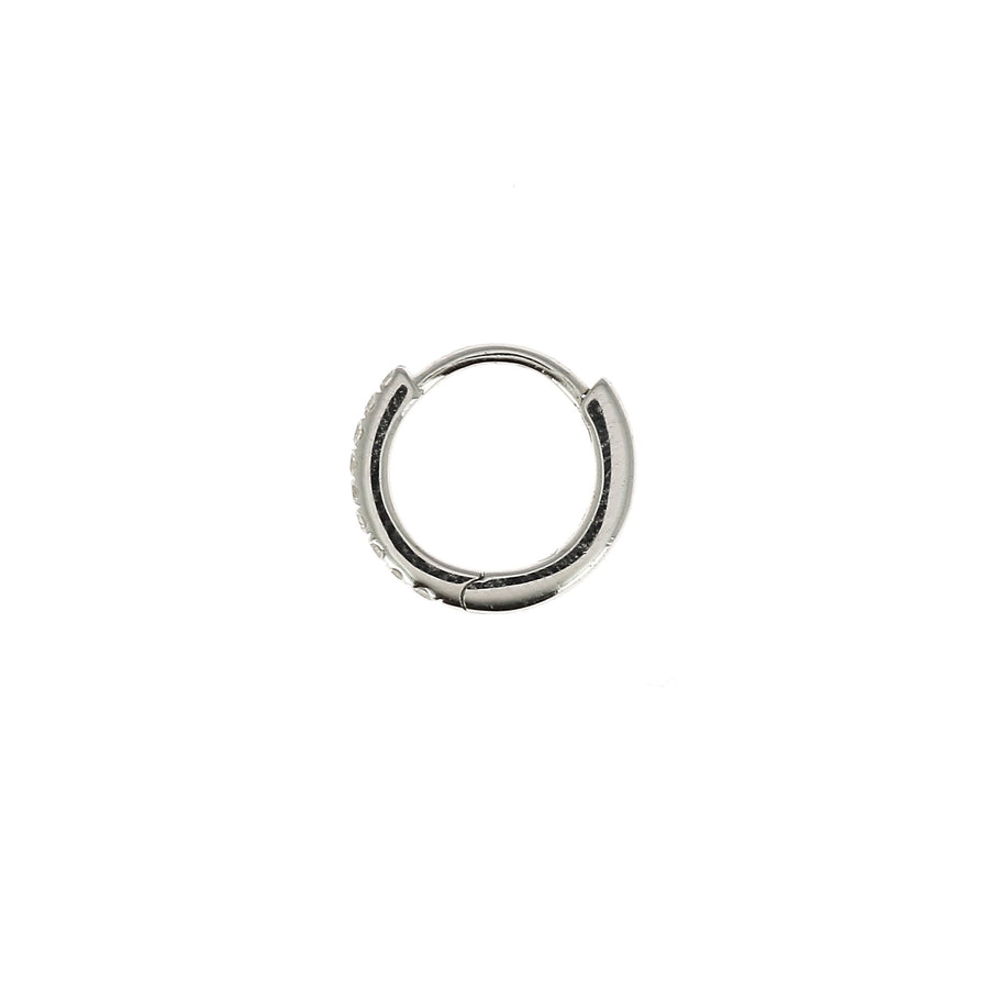 8mm Half Paved Hoop White Gold