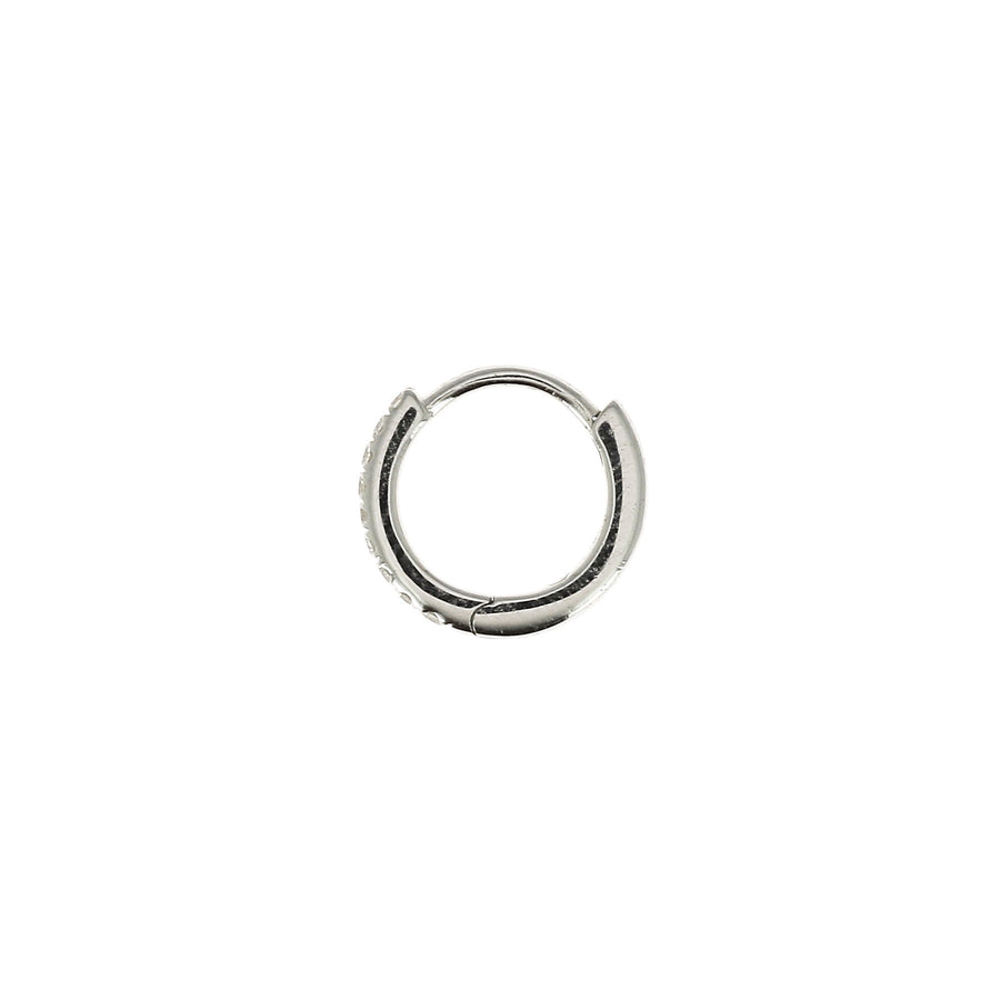 8mm Full Paved Hoop White Gold