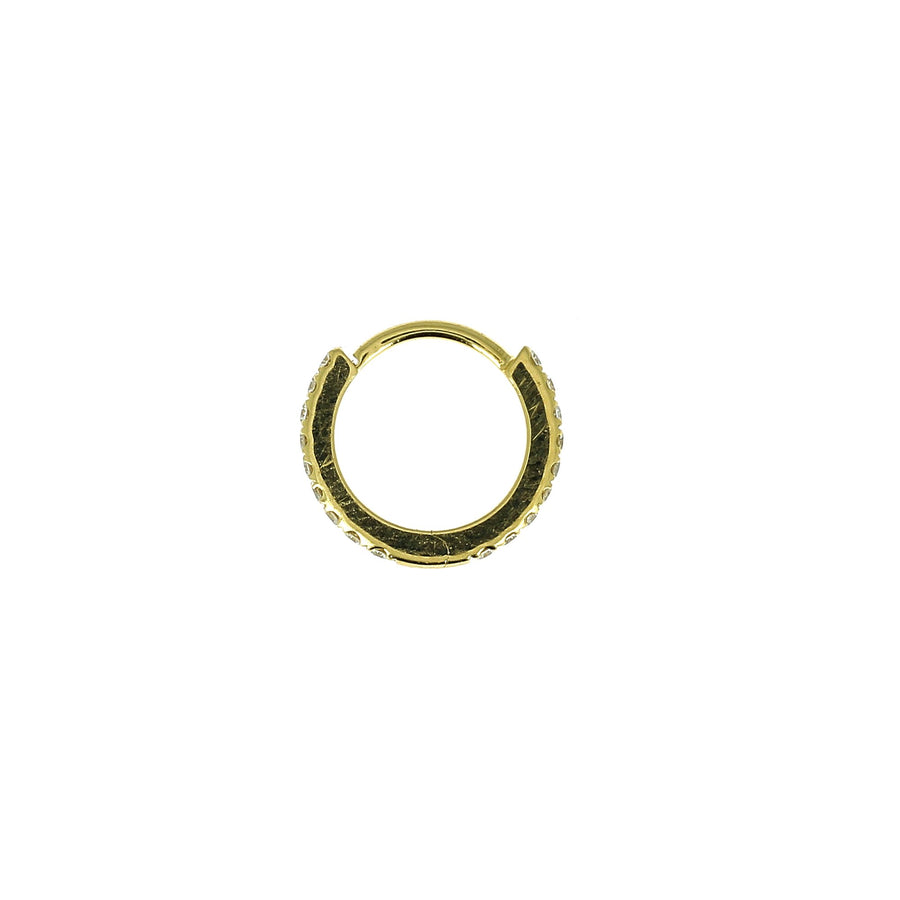 8mm Full Paved Hoop Yellow Gold