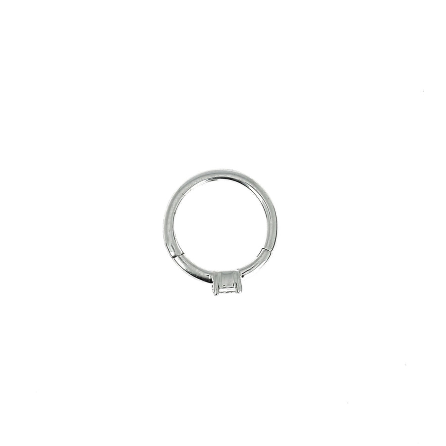 8mm White Gold Hoop Princess 2x2mm