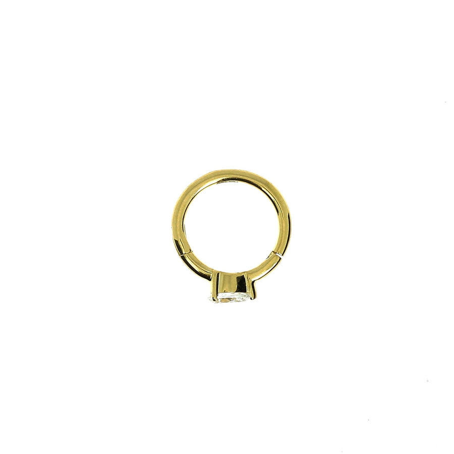 8mm Yelllow Gold Hoop Pear 3.5x2.5mm