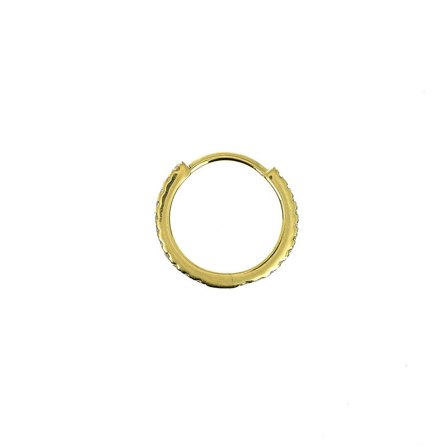 9.5mm Full Paved Hoop Yellow Gold