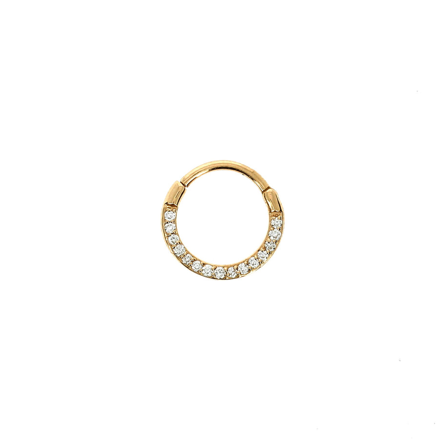 8mm Diamond Line Flat Hoop Rose Gold