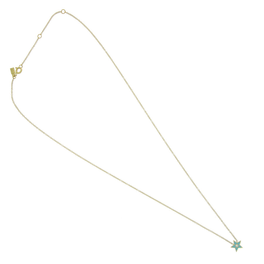 Diamond and turquoise enamel star necklace