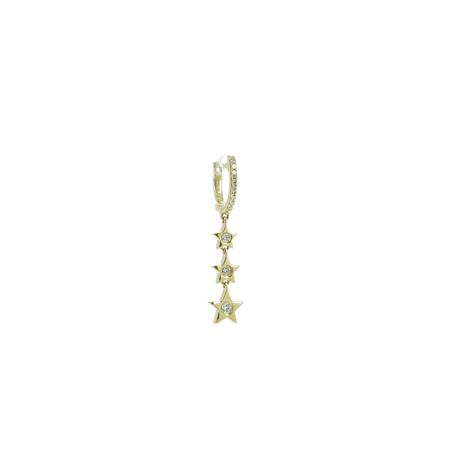 Diamond Huggie with 3 Gold/Diamond Star Drop Earring