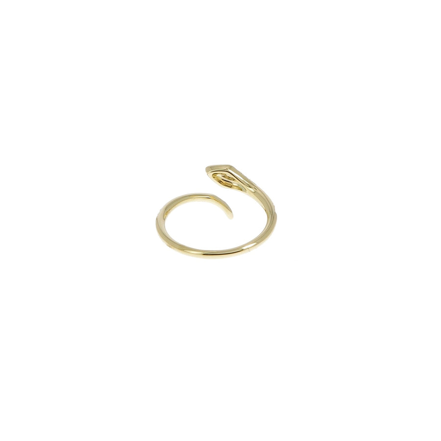 Diamond Snake with Ruby Eyes Ring Yellow Gold