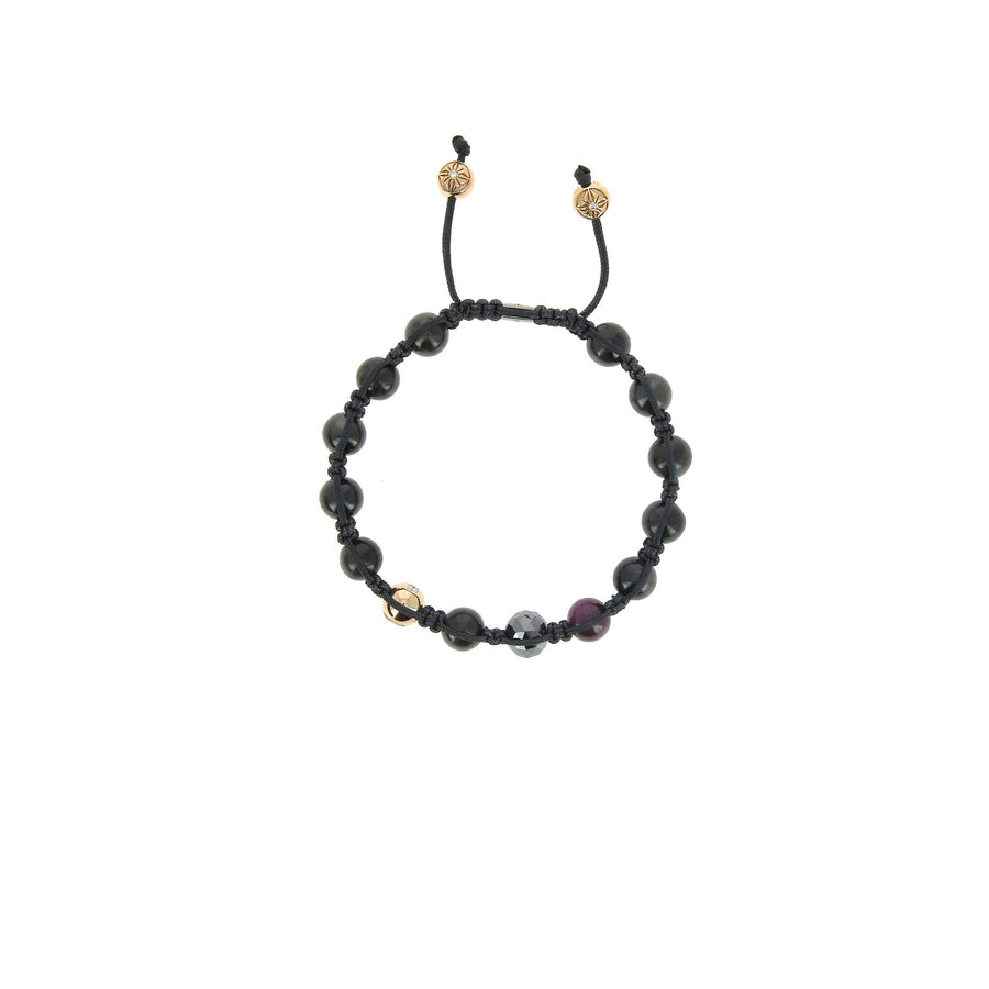 Faceted black diamond, ruby and sapphire bracelet
