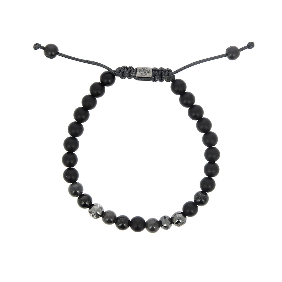 Faceted Black Diamond and Onyx Bracelet