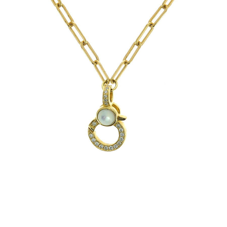 Flat chain mother of pearl bezel necklace