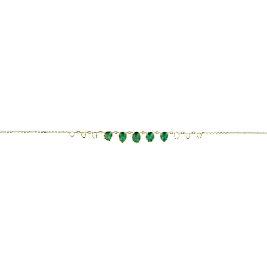 Gradation Emeralds and Rosecut Diamonds Necklace
