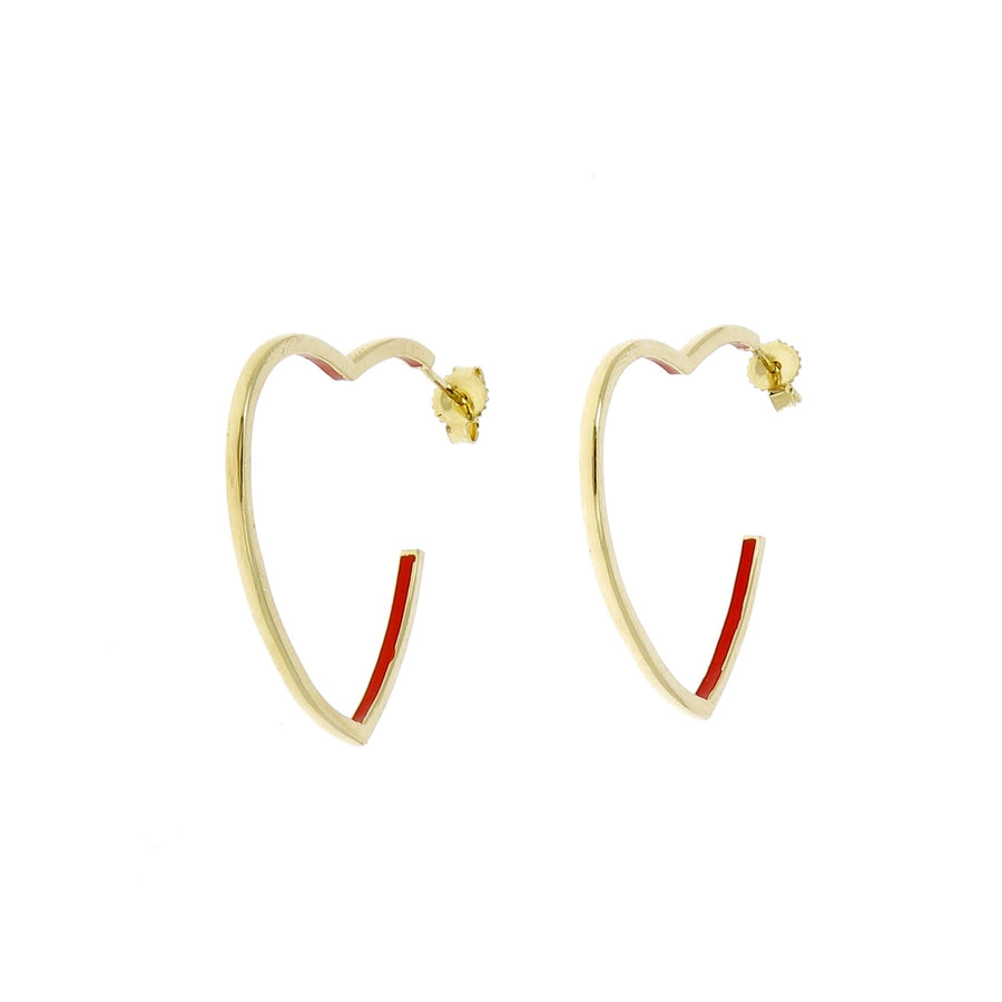 Heart hoops with red enamel